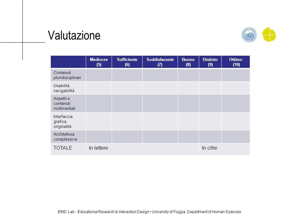 Valutazione ERID Lab - Educational Research & Interaction Design University of Foggia, Department of Human Sciences Mediocre (5) Sufficiente (6) Soddi