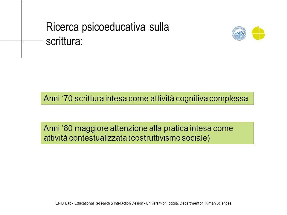 Ricerca psicoeducativa sulla scrittura: ERID Lab - Educational Research & Interaction Design University of Foggia, Department of Human Sciences Anni 7