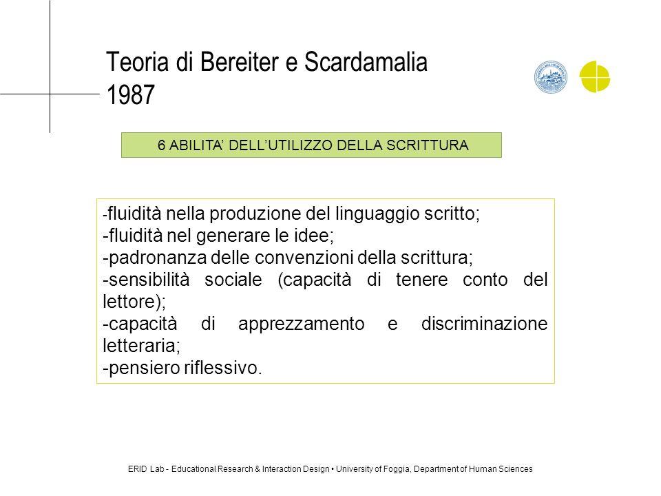 Teoria di Bereiter e Scardamalia 1987 ERID Lab - Educational Research & Interaction Design University of Foggia, Department of Human Sciences - fluidi