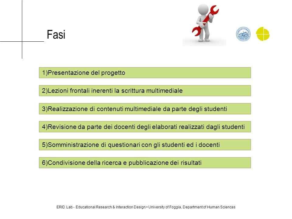 Fasi ERID Lab - Educational Research & Interaction Design University of Foggia, Department of Human Sciences 1)Presentazione del progetto 2)Lezioni fr