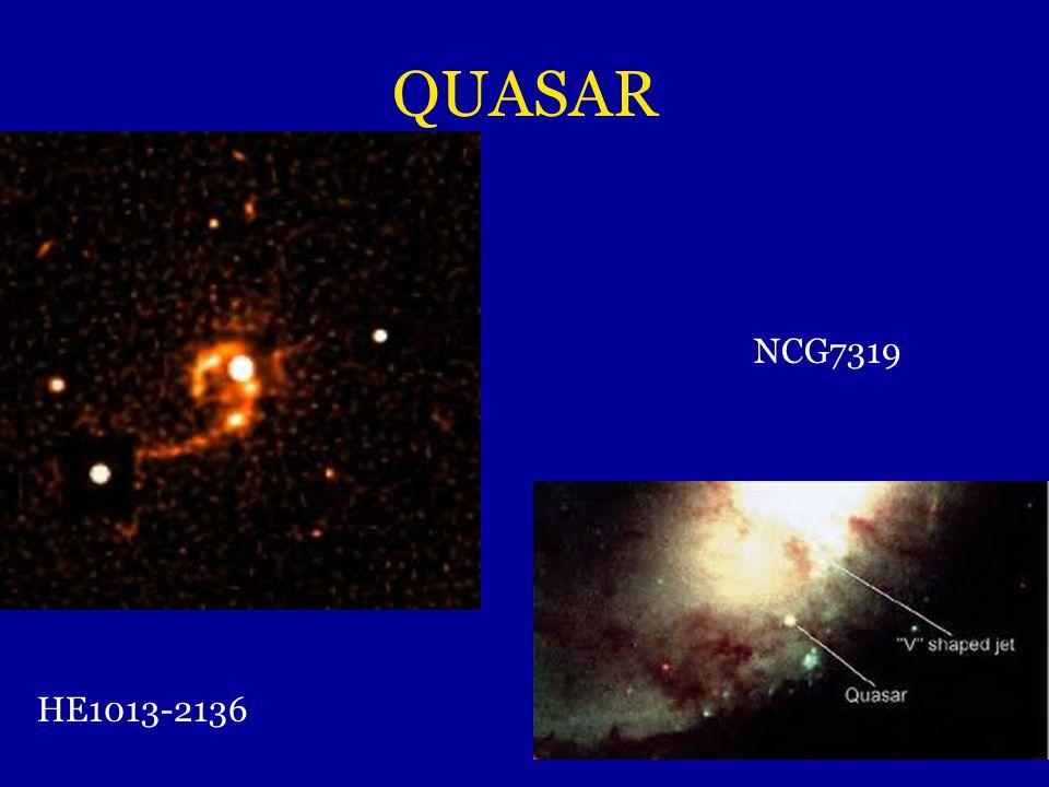 QUASAR Quasi stellar radio source = radiosorgente quasi stellare Oggetti molto distanti: 13 miliardi di anni luce Ciò che osserviamo è stato emesso vi