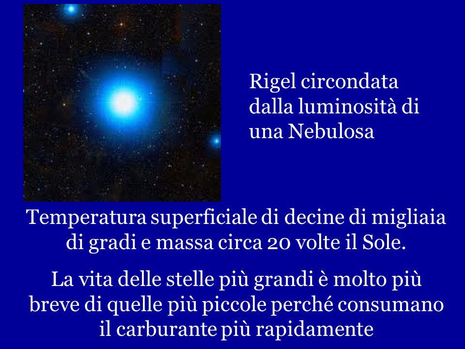 90% Stelle appartiene alla Sequenza Principale alcune sono blu-bianche grandi luminose calde Rigel SuperGigante Blu, confrontata con il Sole