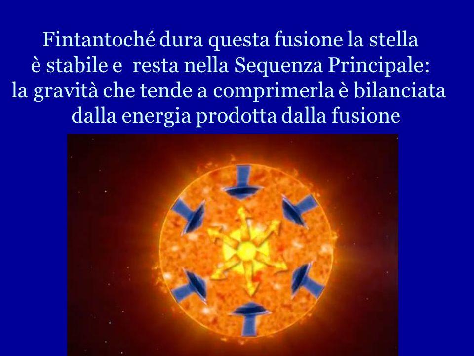 Fusione Idrogeno con produzione di atomi di Elio. Il processo è accompagnato da grande produzione di energia e avviene a temperature elevatissime: mil