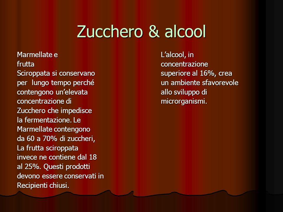 Zucchero & alcool Marmellate e frutta Sciroppata si conservano per lungo tempo perché contengono unelevata concentrazione di Zucchero che impedisce la fermentazione.