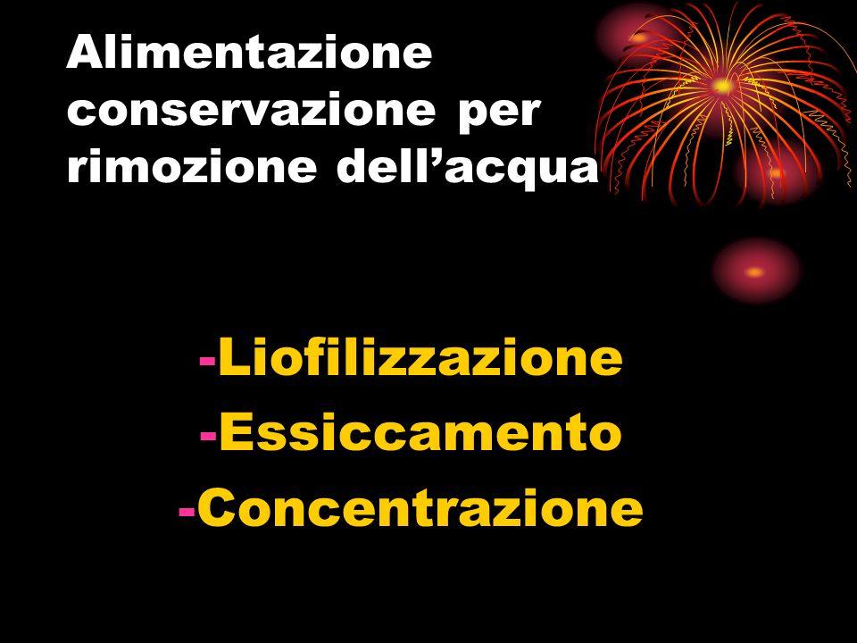 Alimentazione conservazione per rimozione dellacqua -Liofilizzazione -Essiccamento -Concentrazione