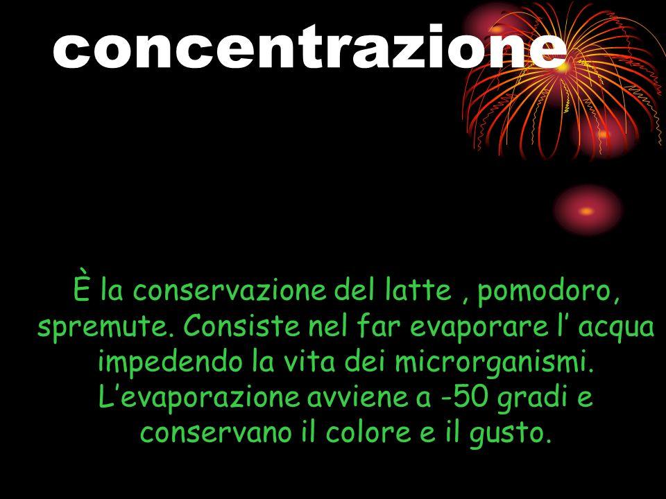 concentrazione È la conservazione del latte, pomodoro, spremute.