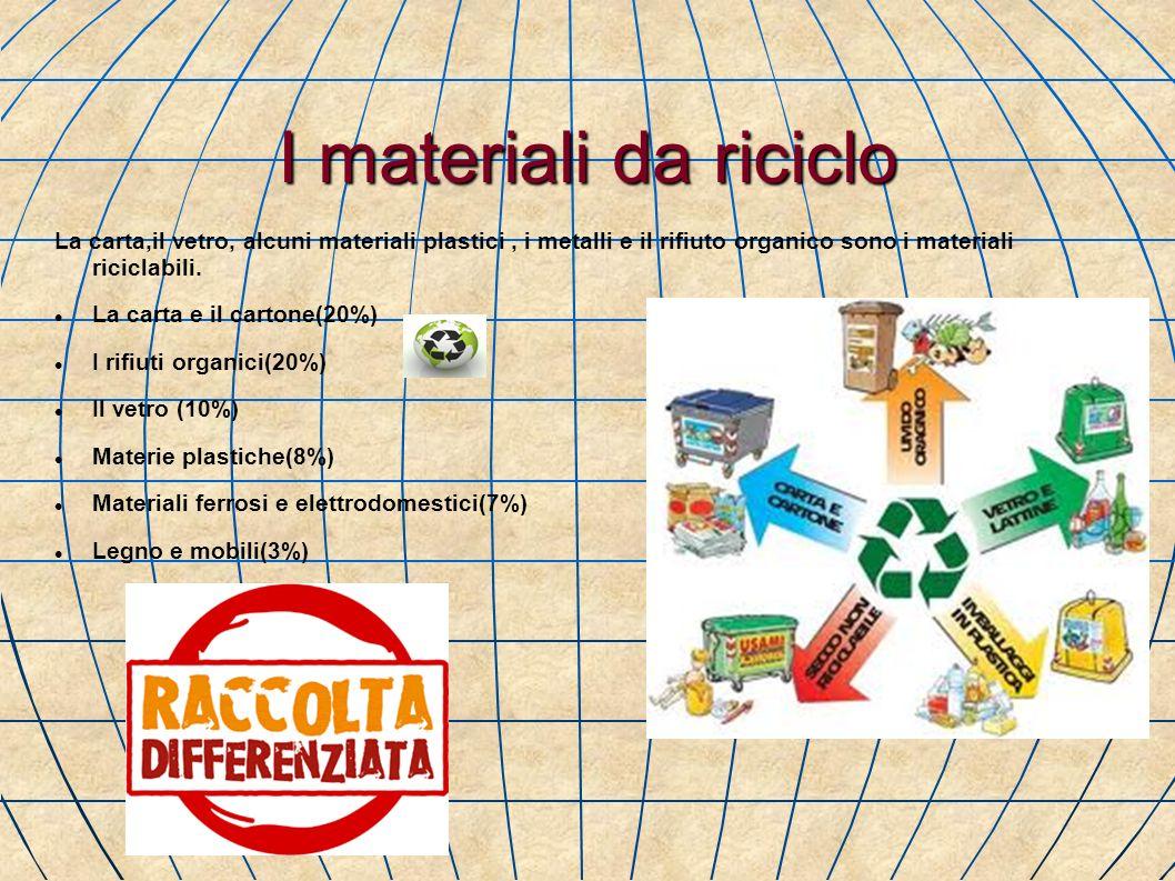 I materiali da riciclo La carta,il vetro, alcuni materiali plastici, i metalli e il rifiuto organico sono i materiali riciclabili. La carta e il carto