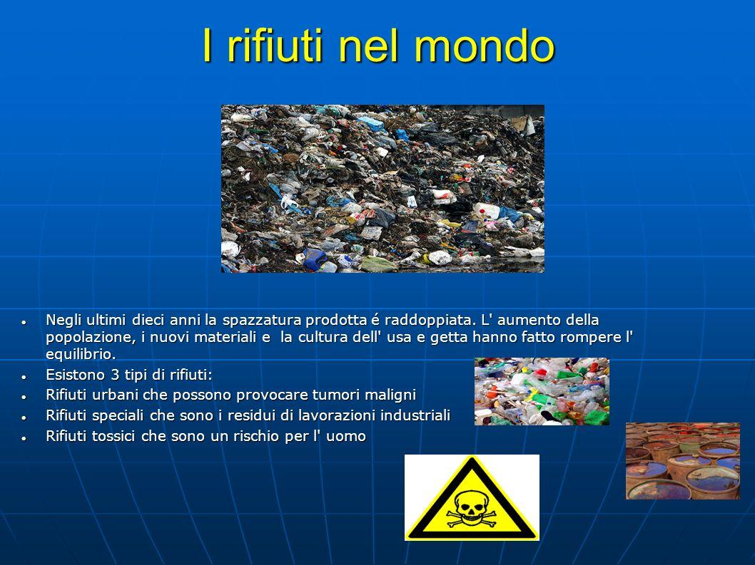 I rifiuti nel mondo Negli ultimi dieci anni la spazzatura prodotta é raddoppiata. L' aumento della popolazione, i nuovi materiali e la cultura dell' u