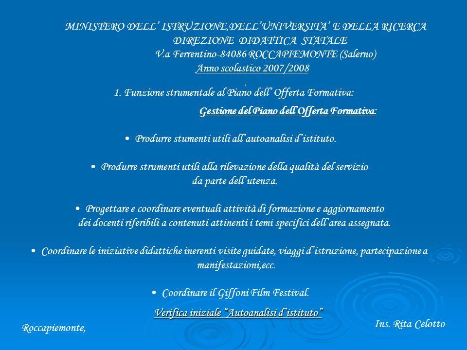MINISTERO DELL ISTRUZIONE,DELLUNIVERSITA E DELLA RICERCA DIREZIONE DIDATTICA STATALE V.a Ferrentino-84086 ROCCAPIEMONTE (Salerno) Anno scolastico 2007/2008.