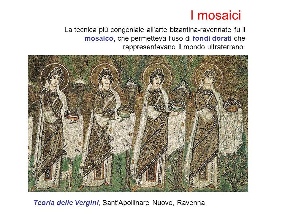 I mosaici La tecnica più congeniale allarte bizantina-ravennate fu il mosaico, che permetteva luso di fondi dorati che rappresentavano il mondo ultraterreno.