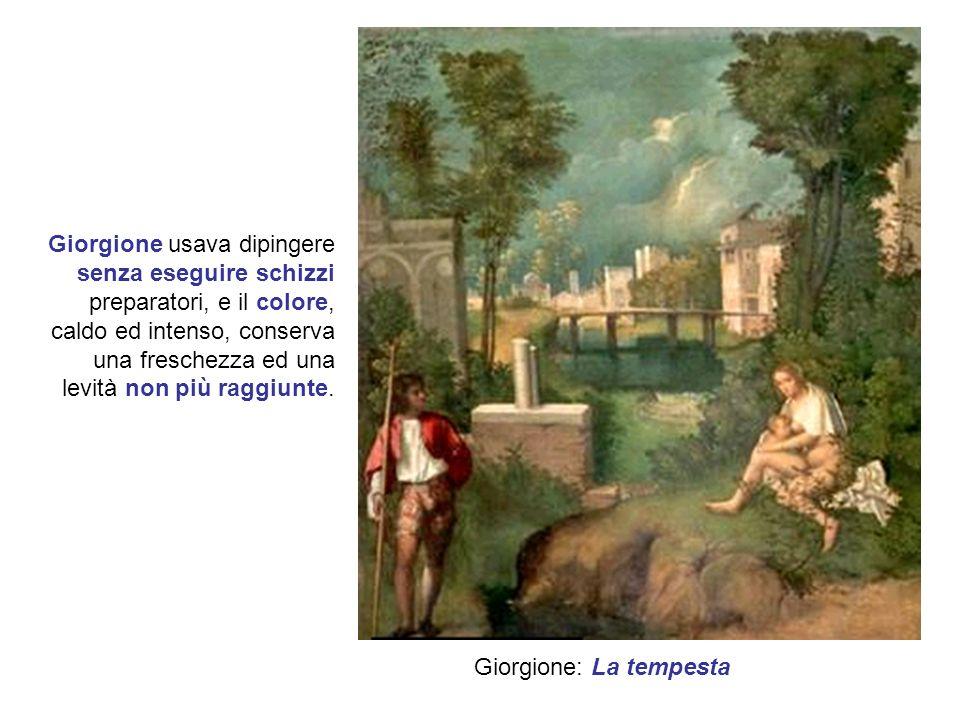 Tiziano Vecellio prese da Giorgione il senso del colore e la morbida sensualità delle figure, aggiungendo un impianto prospettico più articolato e una certa monumentalità drammatica.