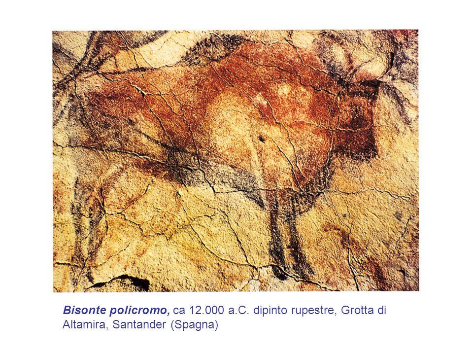 Bisonte policromo, ca 12.000 a.C. dipinto rupestre, Grotta di Altamira, Santander (Spagna)