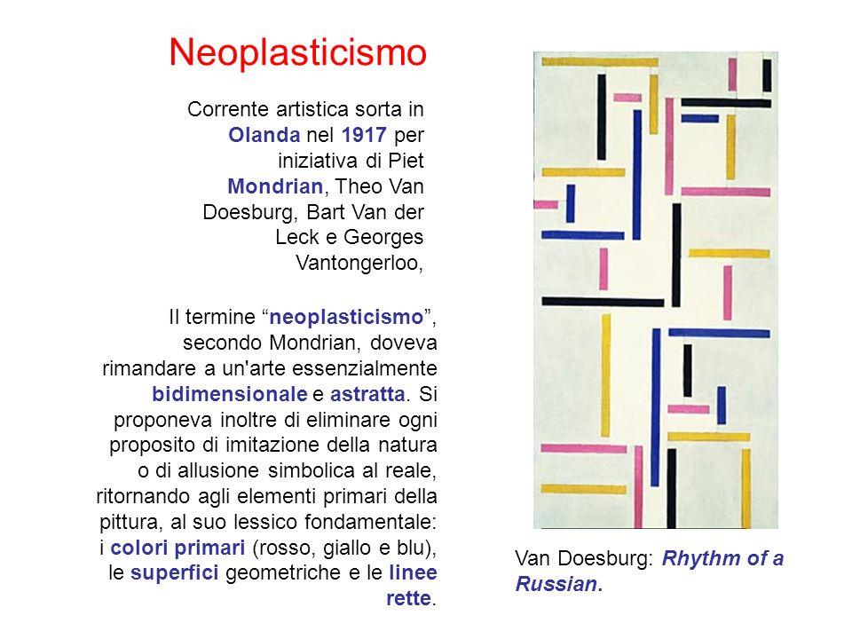 Corrente artistica sorta in Olanda nel 1917 per iniziativa di Piet Mondrian, Theo Van Doesburg, Bart Van der Leck e Georges Vantongerloo, Il termine neoplasticismo, secondo Mondrian, doveva rimandare a un arte essenzialmente bidimensionale e astratta.