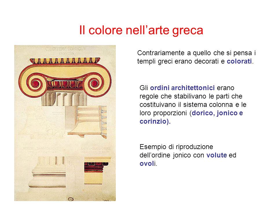 Il colore nellarte greca Contrariamente a quello che si pensa i templi greci erano decorati e colorati.