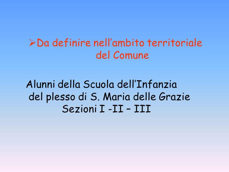 Alunni della Scuola dellInfanzia del plesso di S. Maria delle Grazie Sezioni I -II – III Da definire nellambito territoriale del Comune