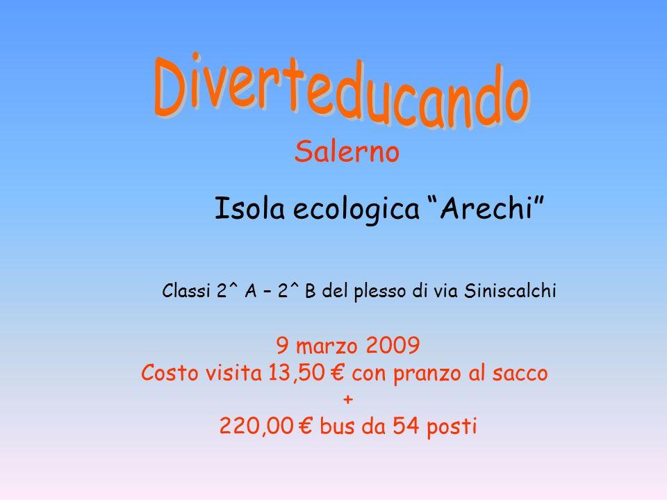 Classi 2^ A – 2^ B del plesso di via Siniscalchi 9 marzo 2009 Costo visita 13,50 con pranzo al sacco + 220,00 bus da 54 posti Salerno Isola ecologica Arechi