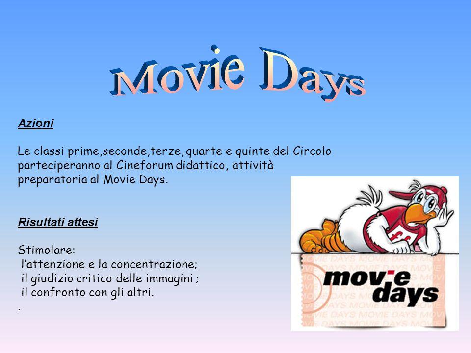 Azioni Le classi prime,seconde,terze, quarte e quinte del Circolo parteciperanno al Cineforum didattico, attività preparatoria al Movie Days. Risultat