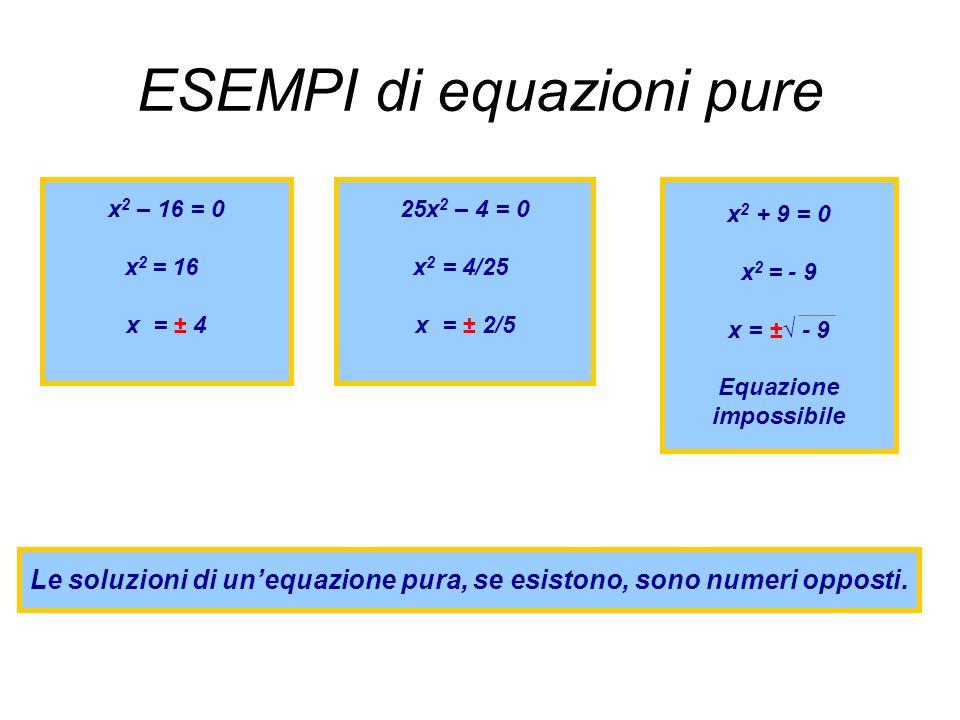 ESEMPI di equazioni pure x 2 – 16 = 0 x 2 = 16 x = ± 4 25x 2 – 4 = 0 x 2 = 4/25 x = ± 2/5 x 2 + 9 = 0 x 2 = - 9 x = ± - 9 Equazione impossibile Le soluzioni di unequazione pura, se esistono, sono numeri opposti.