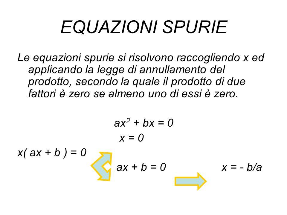 EQUAZIONI SPURIE Le equazioni spurie si risolvono raccogliendo x ed applicando la legge di annullamento del prodotto, secondo la quale il prodotto di