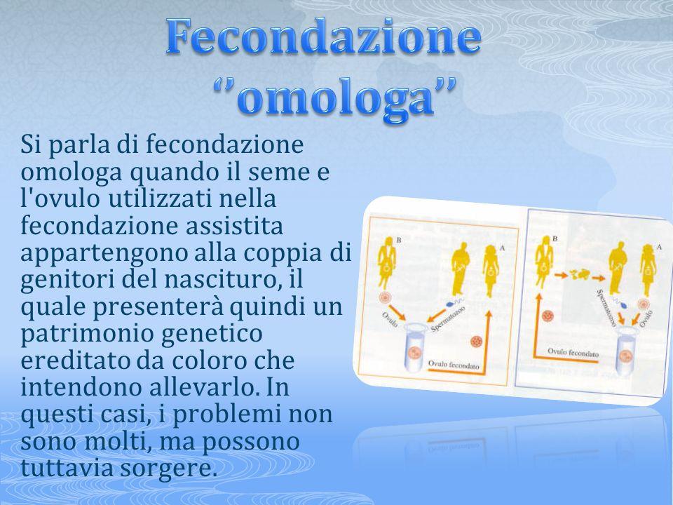 Si parla di fecondazione omologa quando il seme e l'ovulo utilizzati nella fecondazione assistita appartengono alla coppia di genitori del nascituro,