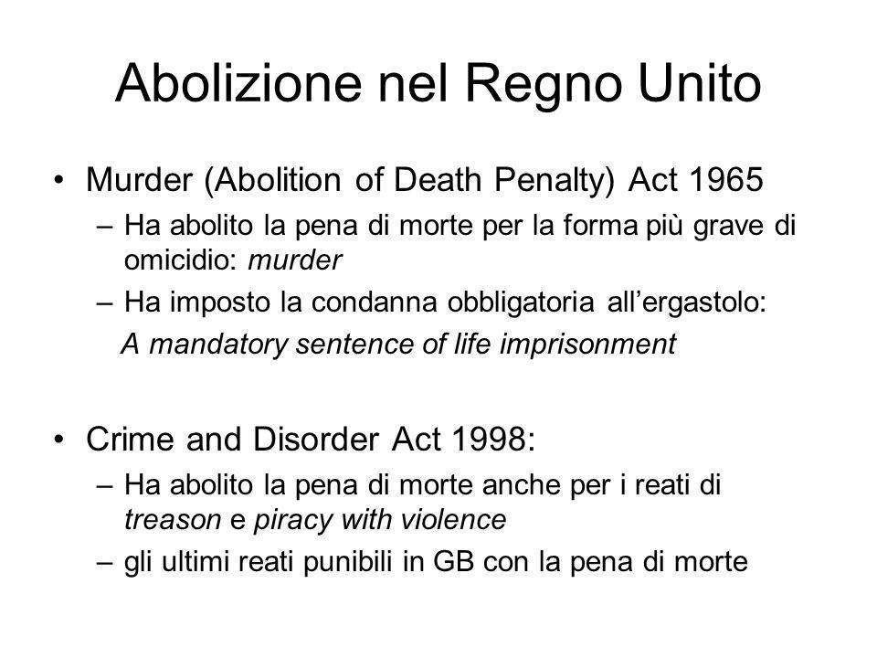 Abolizione nel Regno Unito Murder (Abolition of Death Penalty) Act 1965 –Ha abolito la pena di morte per la forma più grave di omicidio: murder –Ha im