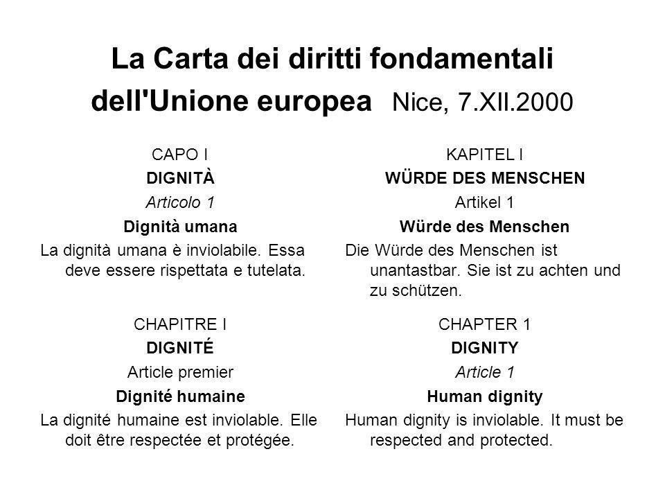La Carta dei diritti fondamentali dell'Unione europea Nice, 7.XII.2000 CAPO I DIGNITÀ Articolo 1 Dignità umana La dignità umana è inviolabile. Essa de