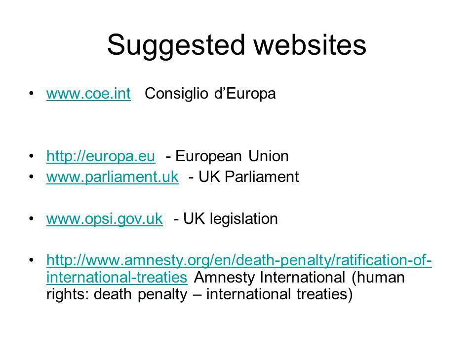 Suggested websites www.coe.int Consiglio dEuropawww.coe.int http://europa.eu - European Unionhttp://europa.eu www.parliament.uk - UK Parliamentwww.par