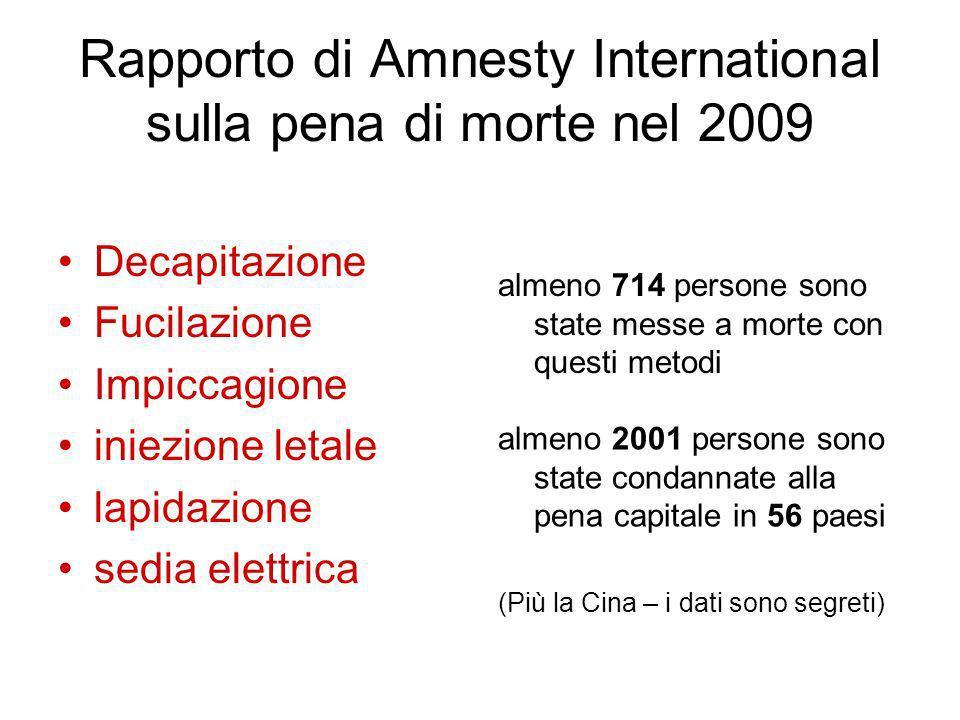 Rapporto di Amnesty International sulla pena di morte nel 2009 Decapitazione Fucilazione Impiccagione iniezione letale lapidazione sedia elettrica alm