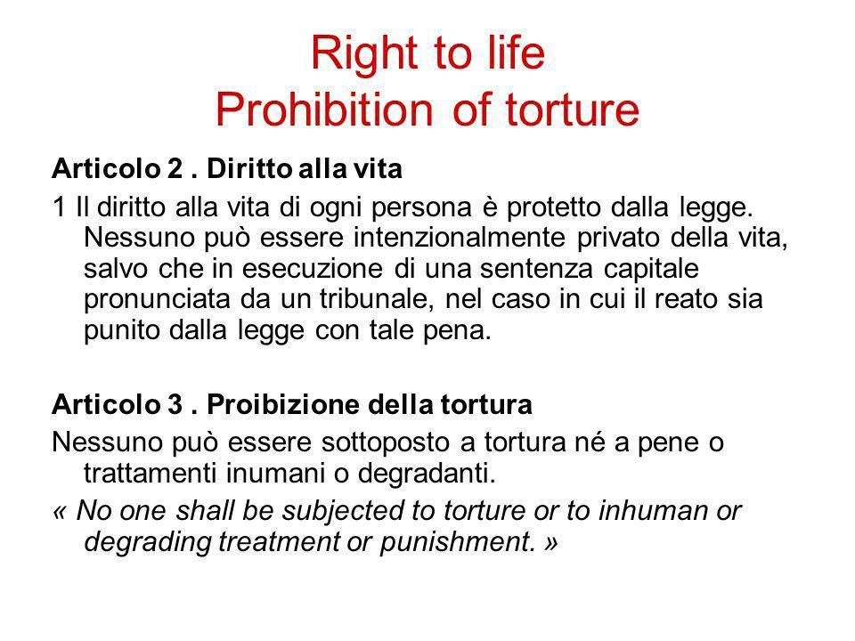 Right to life Prohibition of torture Articolo 2. Diritto alla vita 1 Il diritto alla vita di ogni persona è protetto dalla legge. Nessuno può essere i