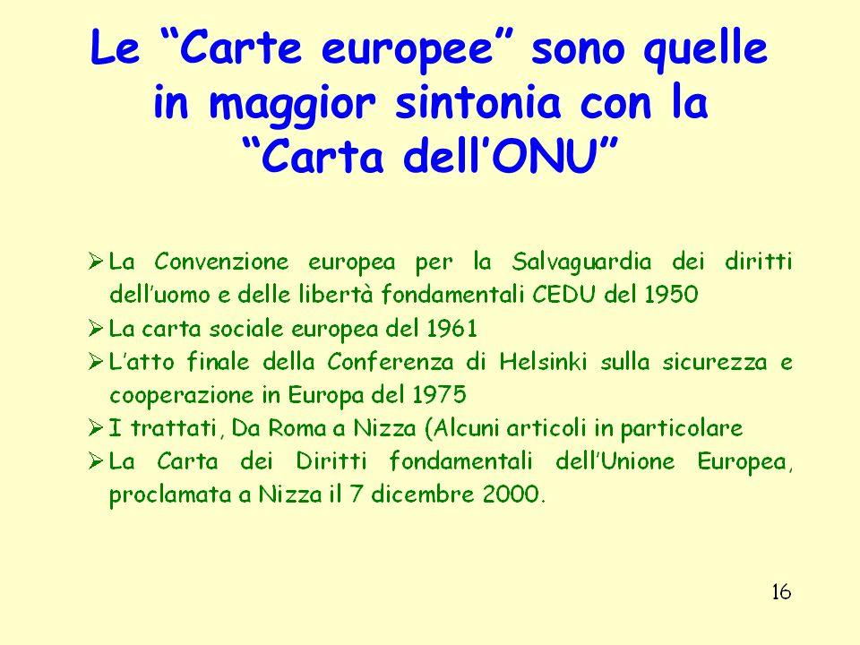 Le Carte europee sono quelle in maggior sintonia con la Carta dellONU