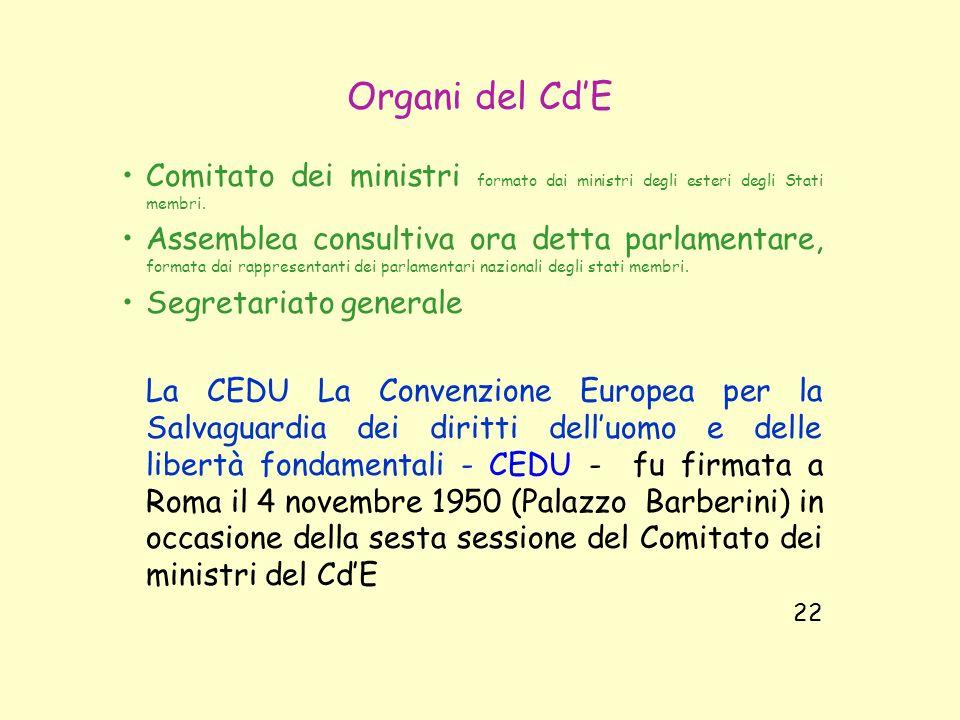 Organi del CdE Comitato dei ministri formato dai ministri degli esteri degli Stati membri. Assemblea consultiva ora detta parlamentare, formata dai ra