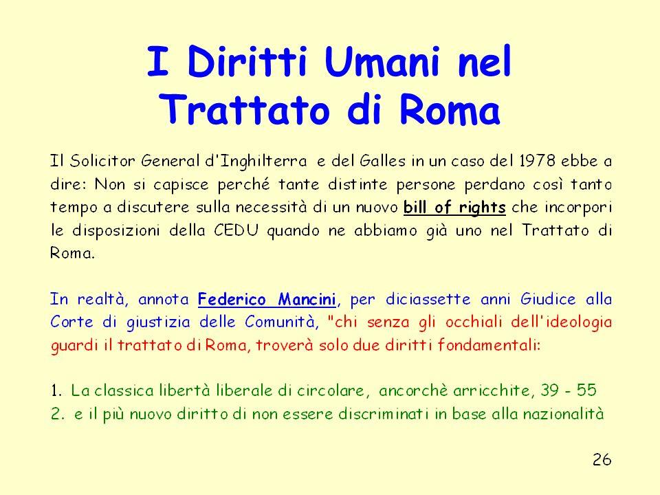 I Diritti Umani nel Trattato di Roma