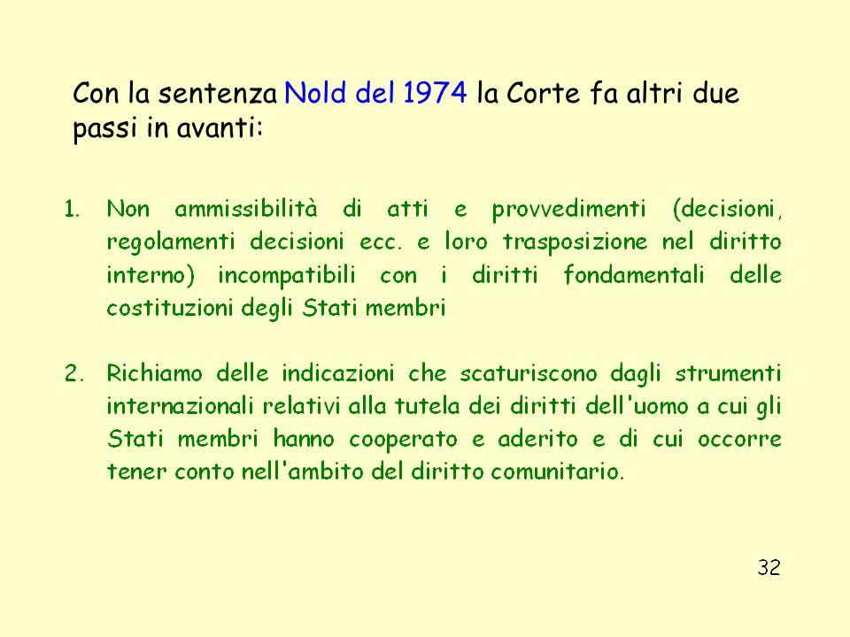 Con la sentenza Nold del 1974 la Corte fa altri due passi in avanti: