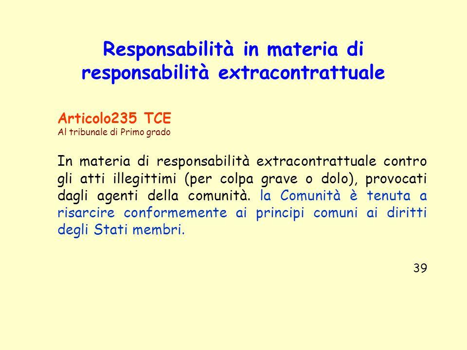 Responsabilità in materia di responsabilità extracontrattuale Articolo235 TCE Al tribunale di Primo grado In materia di responsabilità extracontrattua