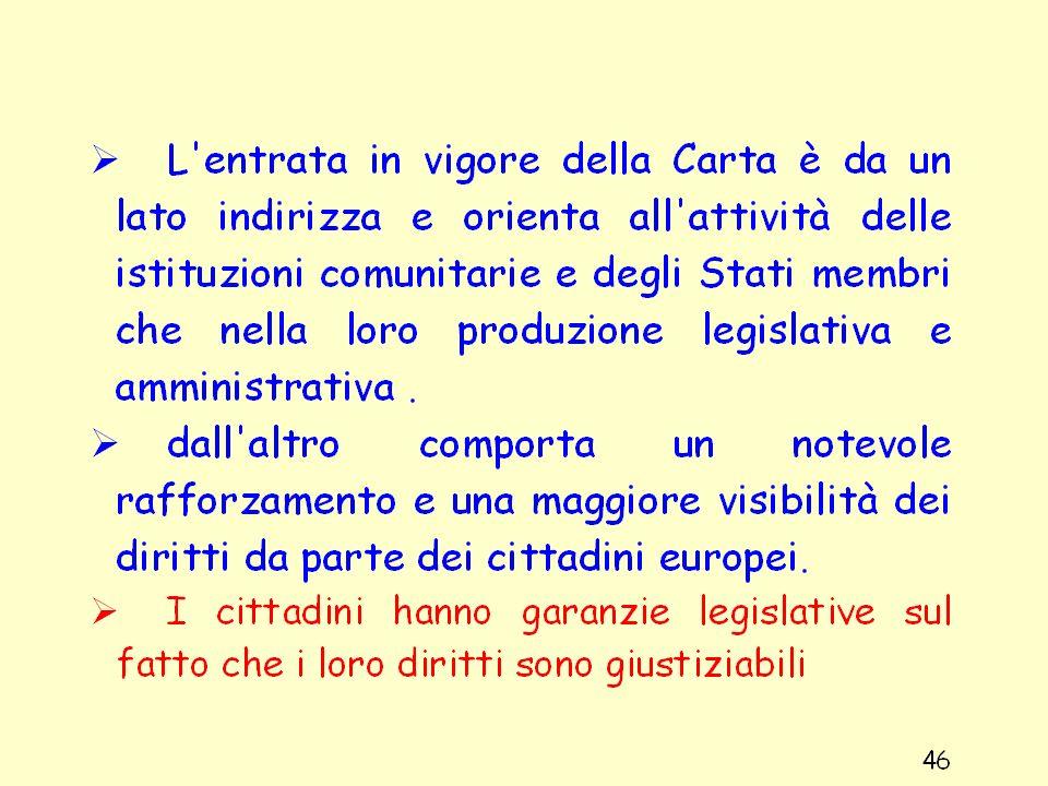 Struttura della Carta La Carta è suddivide tre categorie di diritti I diritti di libertà e di eguaglianza I diritti procedurali fondamentali garantiti dalla CEDU e dalle tradizioni costituzionali comuni agli Stati membri I diritti fondamentali riservati ai cittadini dellUnione 47