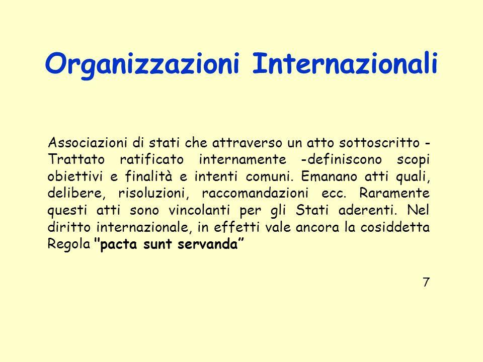 Organizzazioni Internazionali Associazioni di stati che attraverso un atto sottoscritto - Trattato ratificato internamente -definiscono scopi obiettiv