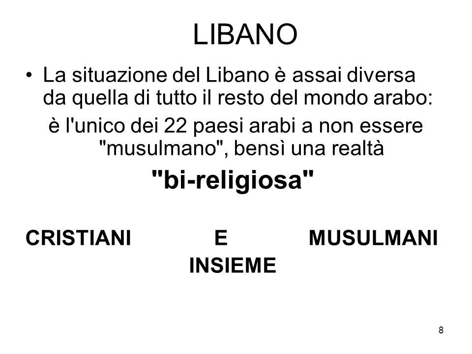8 LIBANO La situazione del Libano è assai diversa da quella di tutto il resto del mondo arabo: è l unico dei 22 paesi arabi a non essere musulmano , bensì una realtà bi-religiosa CRISTIANI E MUSULMANI INSIEME
