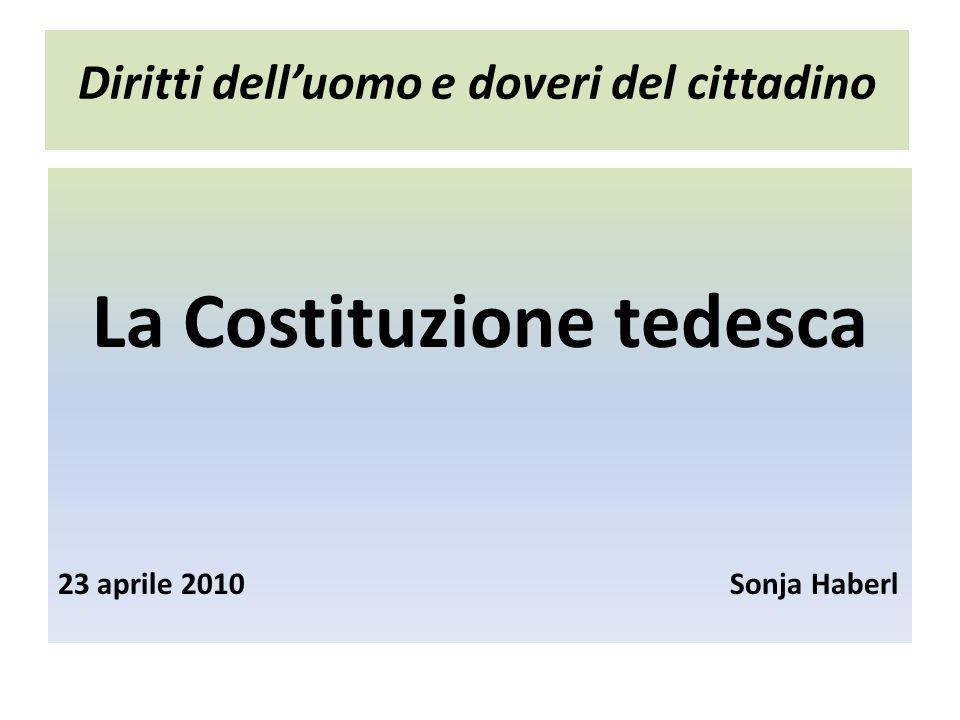 Diritti delluomo e doveri del cittadino La Costituzione tedesca 23 aprile 2010Sonja Haberl