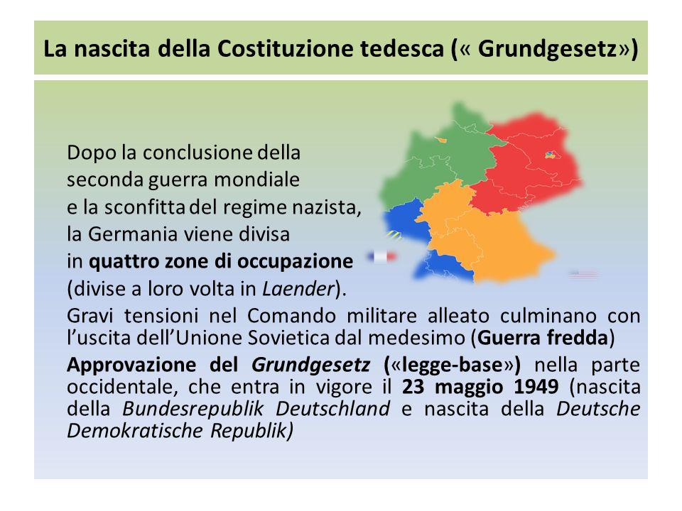 La nascita della Costituzione tedesca (« Grundgesetz») Dopo la conclusione della seconda guerra mondiale e la sconfitta del regime nazista, la Germania viene divisa in quattro zone di occupazione (divise a loro volta in Laender).