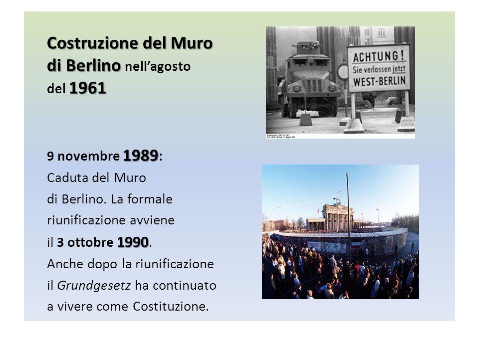 Costruzione del Muro di Berlino di Berlino nellagosto 1961 del 1961 1989 9 novembre 1989 : Caduta del Muro di Berlino.