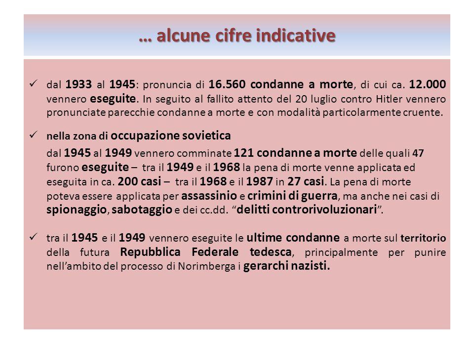 …alcune cifre indicative … alcune cifre indicative dal 1933 al 1945 : pronuncia di 16.560 condanne a morte, di cui ca.