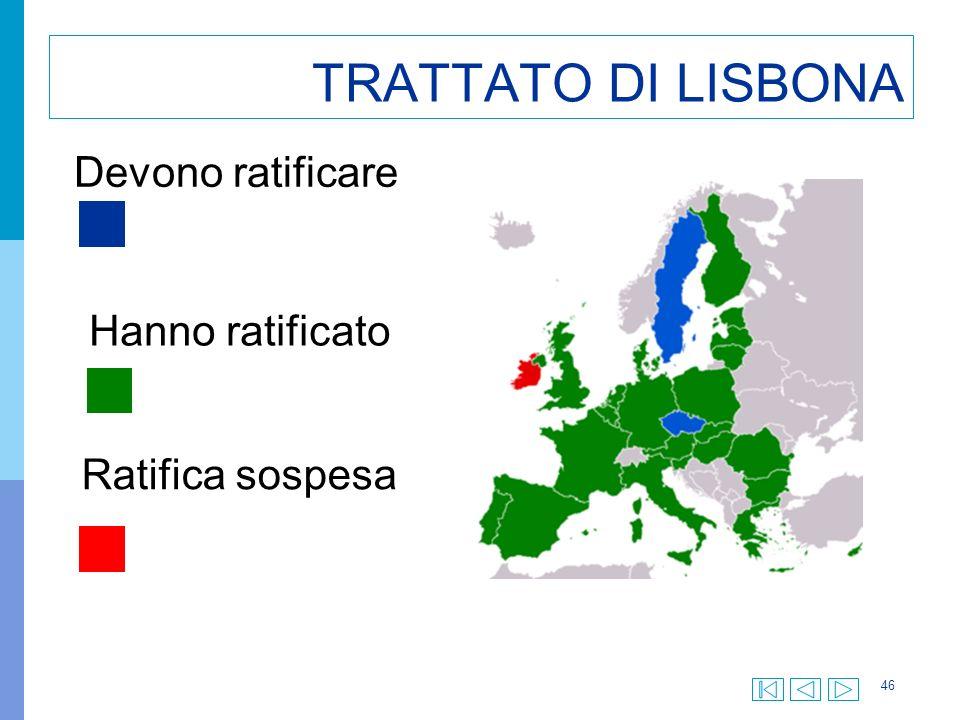 46 TRATTATO DI LISBONA Hanno ratificato Devono ratificare Ratifica sospesa