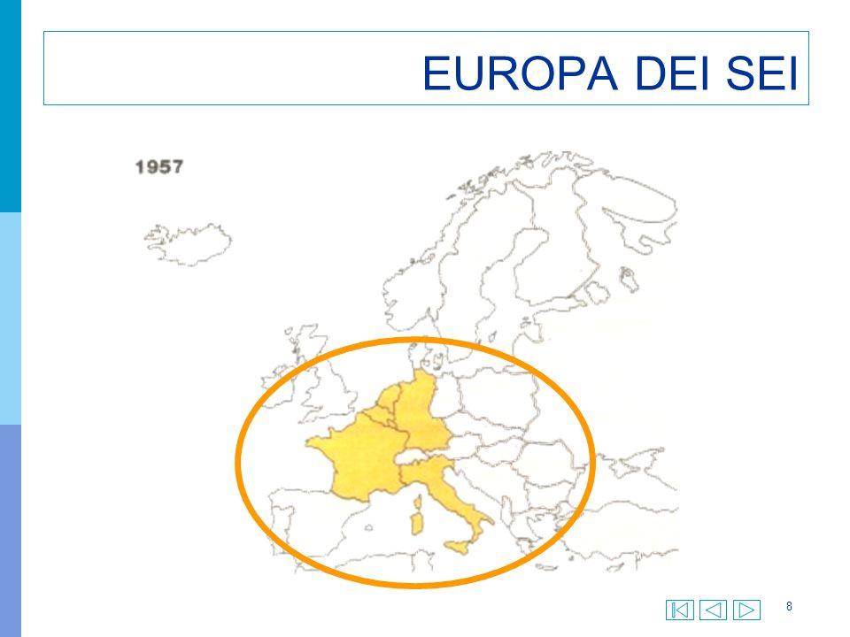 19 TRATTATO DI MAASTRICHT Istituzione dell UE nella cui organizzazione sono ricondotte Ceca, Euratom e Cee Istituzione della cittadinanza europea Fissazione tappe per lunione monetaria Banca centrale europea e moneta unica Introduzione del principio di sussidiarietà Nei settori che non sono di competenza esclusiva dellUnione, questa può intervenire solo se gli Stati non sono in grado di realizzare, con le proprie forze gli obiettivi proposti Impegno per una politica estera e di sicurezza comuni