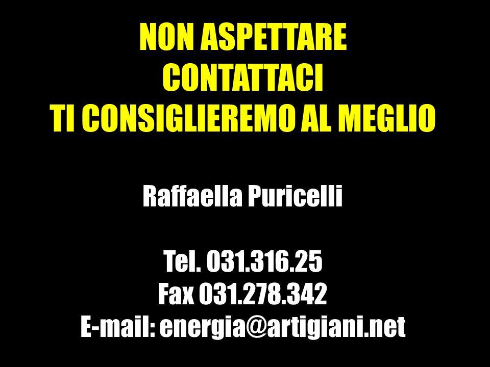 NON ASPETTARE CONTATTACI TI CONSIGLIEREMO AL MEGLIO Raffaella Puricelli Tel.