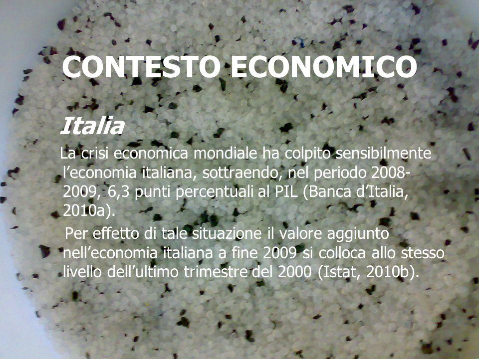 CONTESTO ECONOMICO Italia La crisi economica mondiale ha colpito sensibilmente leconomia italiana, sottraendo, nel periodo 2008- 2009, 6,3 punti percentuali al PIL (Banca dItalia, 2010a).