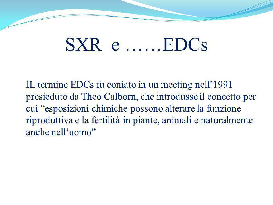 SXR e ……EDCs IL termine EDCs fu coniato in un meeting nell1991 presieduto da Theo Calborn, che introdusse il concetto per cui esposizioni chimiche pos