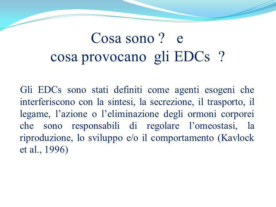 Cosa sono ? e cosa provocano gli EDCs ? Gli EDCs sono stati definiti come agenti esogeni che interferiscono con la sintesi, la secrezione, il trasport