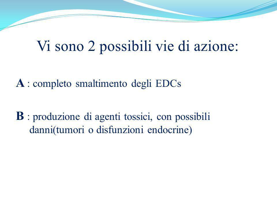 Vi sono 2 possibili vie di azione: A : completo smaltimento degli EDCs B : produzione di agenti tossici, con possibili danni(tumori o disfunzioni endo