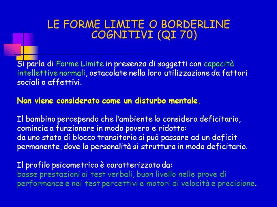 LE FORME LIMITE O BORDERLINE COGNITIVI (QI 70) Si parla di Forme Limite in presenza di soggetti con capacità intellettive normali, ostacolate nella lo