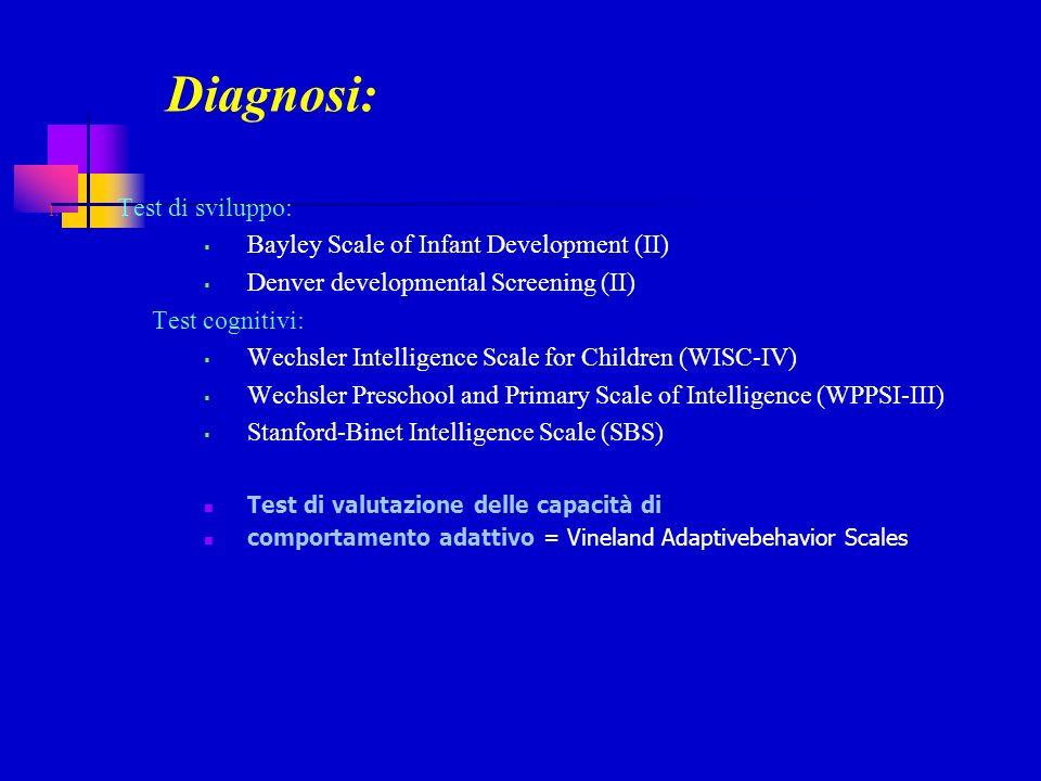 Diagnosi: 1. Test di sviluppo: Bayley Scale of Infant Development (II) Denver developmental Screening (II) Test cognitivi: Wechsler Intelligence Scale